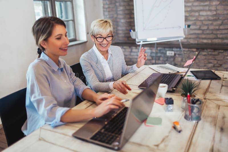 Επιχειρησιακοί συνάδελφοι που εργάζονται στο lap-top στην αρχή στοκ φωτογραφίες