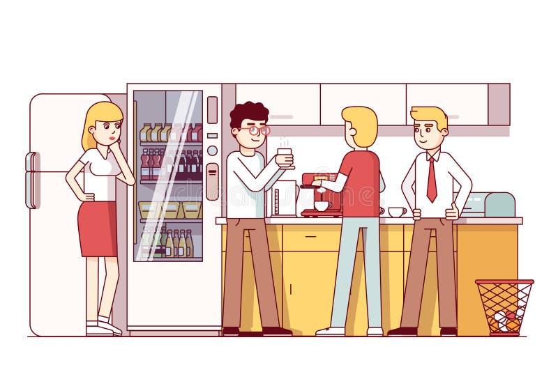 Επιχειρησιακοί συνάδελφοι που στην κουζίνα γραφείων διανυσματική απεικόνιση