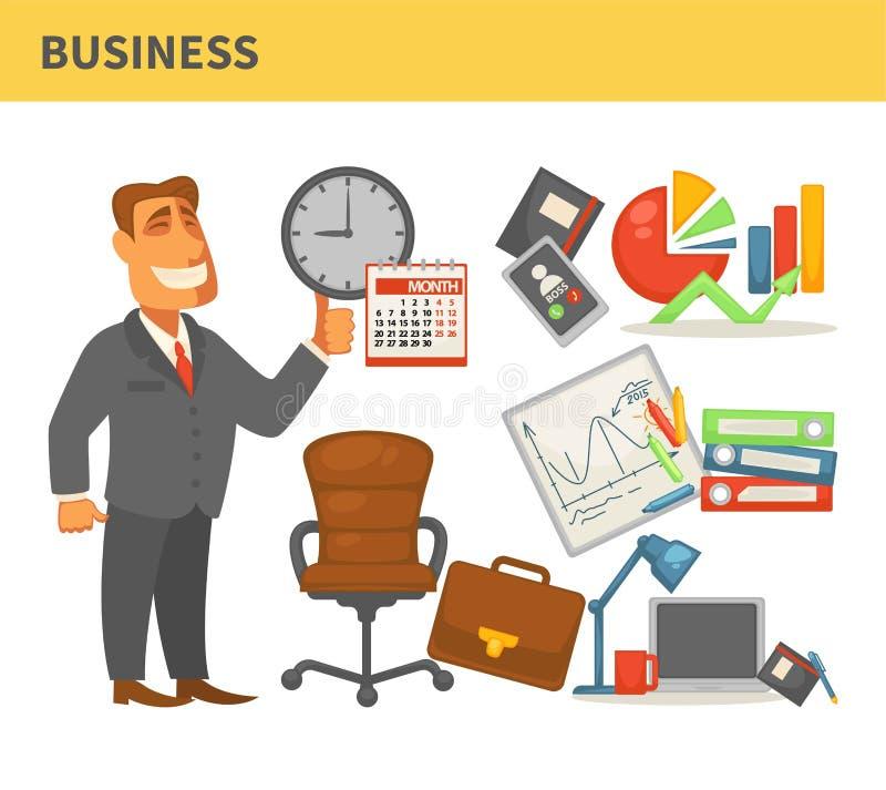 Επιχειρησιακός επιχειρηματίας στην καρέκλα δέρματος κοστουμιών και χαρτοφύλακας γραφικός απεικόνιση αποθεμάτων