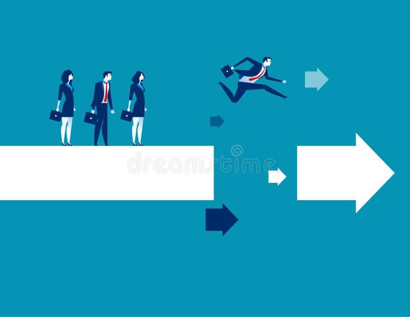Επιχειρησιακός ηγέτης που πηδά πέρα από το χάσμα στο βέλος Επιχειρησιακή διανυσματική απεικόνιση έννοιας απεικόνιση αποθεμάτων
