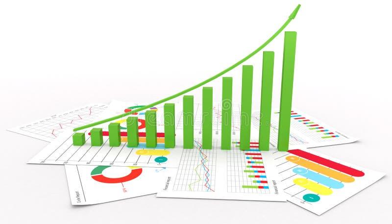 Επιχειρησιακός οικονομικοί φραγμός και γραφική παράσταση πιτών με την τρισδιάστατη απεικόνιση επιτυχίας αύξησης απεικόνιση αποθεμάτων