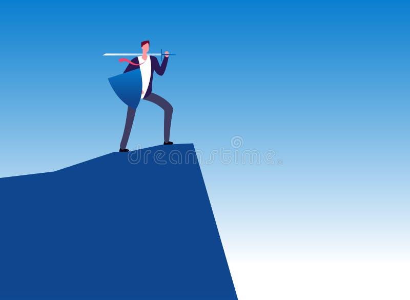 επιχειρησιακός πολεμιστής Κατακτητής επιχειρηματιών με το ξίφος στην κορυφή βουνών Διάνυσμα προστασίας ηγεσίας, δύναμης και επιχε ελεύθερη απεικόνιση δικαιώματος