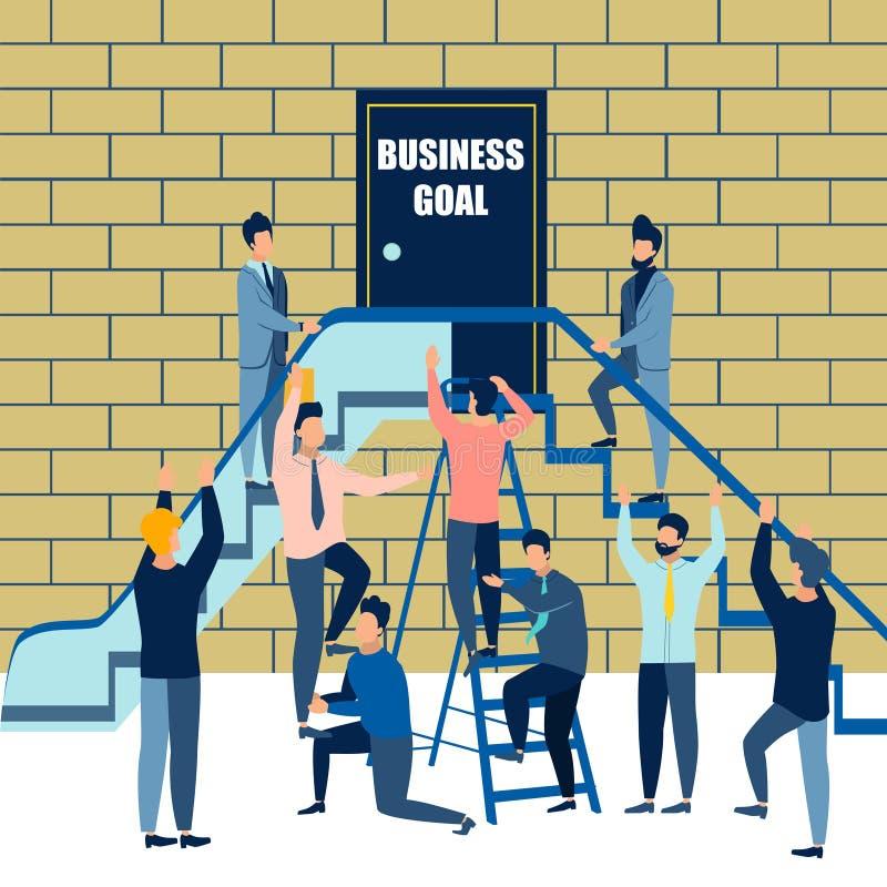 Επιχειρησιακός στόχος Διάφορες επιλογές, τρόποι να επιτευχθεί η επιθυμητή εργασία Το προσωπικό γραφείου χρησιμοποιεί τον ανελκυστ ελεύθερη απεικόνιση δικαιώματος