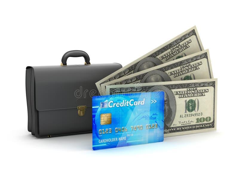 Επιχειρησιακός χαρτοφύλακας, πιστωτική κάρτα και λογαριασμοί δολαρίων ελεύθερη απεικόνιση δικαιώματος