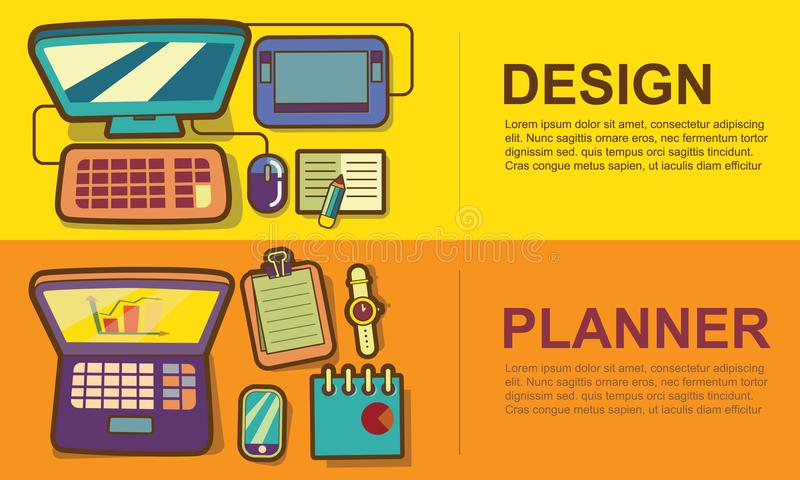 Επιχειρησιακός χώρος εργασίας και σύνολο εμβλημάτων έννοιας εξοπλισμού, σχέδιο, pla απεικόνιση αποθεμάτων