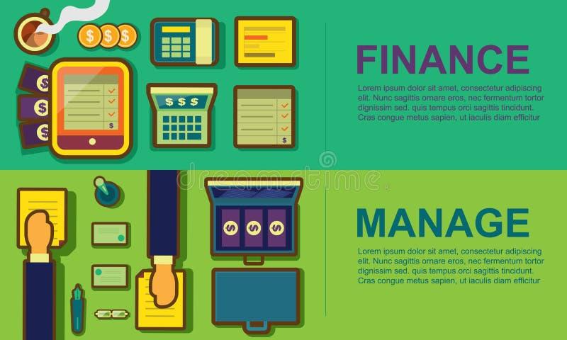 Επιχειρησιακός χώρος εργασίας και σύνολο εμβλημάτων έννοιας εξοπλισμού, χρηματοδότηση, μΑ απεικόνιση αποθεμάτων