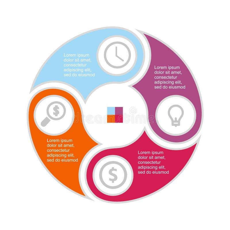 Επιχειρησιακός infographic κύκλος στο επίπεδο σχέδιο Σχεδιάγραμμα για τις επιλογές ή τα βήματά σας Αφηρημένο σχέδιο για το υπόβαθ διανυσματική απεικόνιση