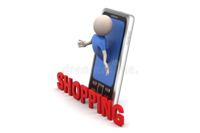 Επιχειρησιακό άτομο και έξυπνο τηλέφωνο με τις αγορές απεικόνιση αποθεμάτων