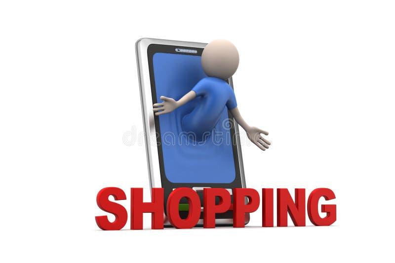 Επιχειρησιακό άτομο και έξυπνο τηλέφωνο με τις αγορές ελεύθερη απεικόνιση δικαιώματος