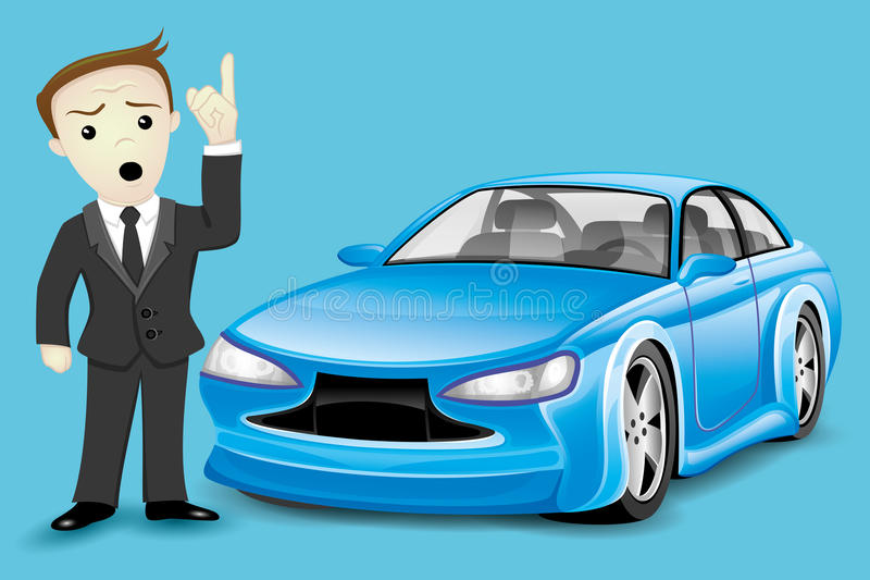 Επιχειρησιακό άτομο και μπλε αυτοκίνητο απεικόνιση αποθεμάτων