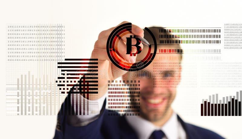 Επιχειρησιακό άτομο και bitcoin στοκ φωτογραφίες
