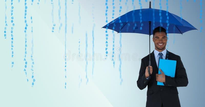 Επιχειρησιακό άτομο με την ομπρέλα και μπλε βιβλίο στο μπλε κλίμα και μπλε κώδικας στοκ εικόνα