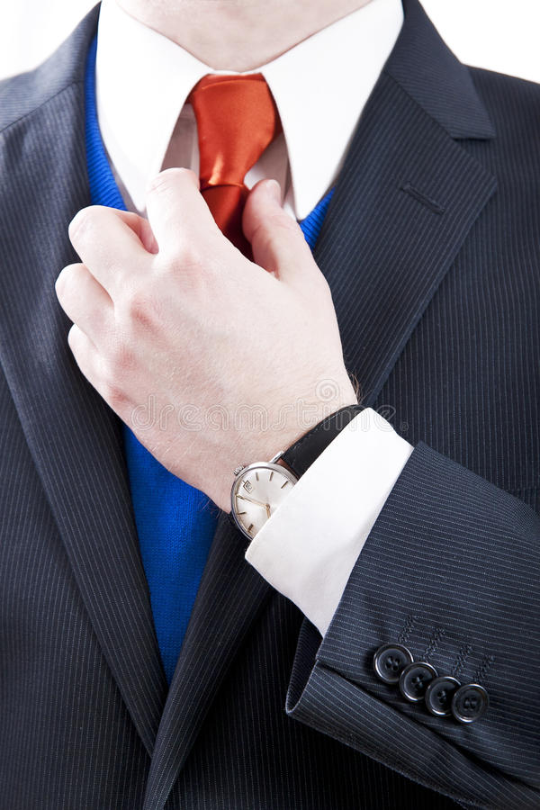 Επιχειρησιακό άτομο με την πορτοκαλιά γραβάτα στοκ φωτογραφία με δικαίωμα ελεύθερης χρήσης