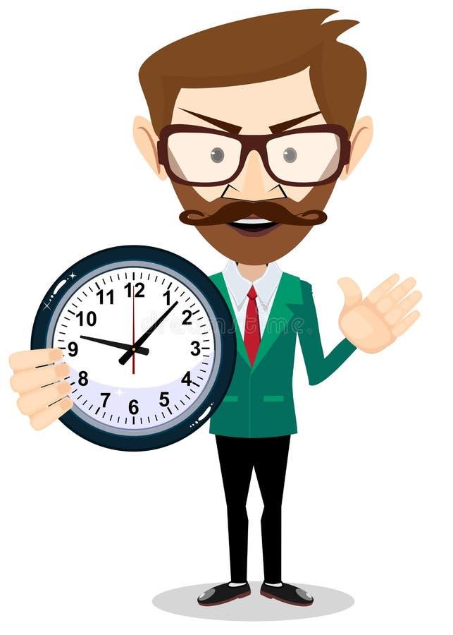 Επιχειρησιακό άτομο με τη 'Ένδειξη ώρασ' Έννοια χρονικής διαχείρισης απεικόνιση αποθεμάτων