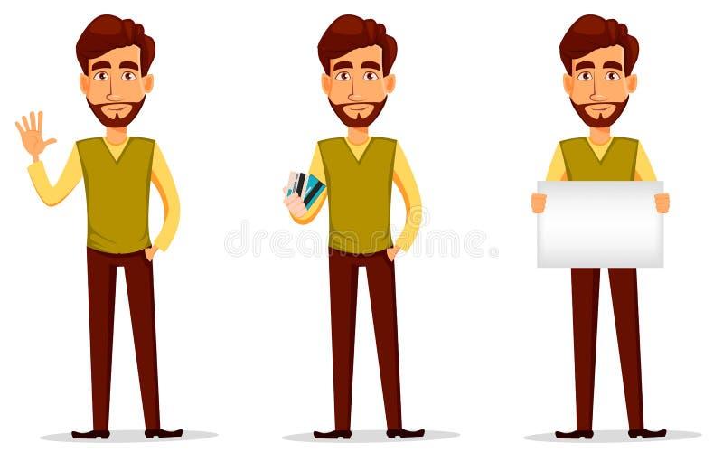 Επιχειρησιακό άτομο με τη γενειάδα, χαρακτήρας κινουμένων σχεδίων - σύνολο απεικόνιση αποθεμάτων