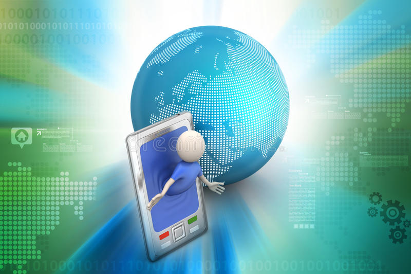 Επιχειρησιακό άτομο με το έξυπνους τηλέφωνο και τον κόσμο απεικόνιση αποθεμάτων
