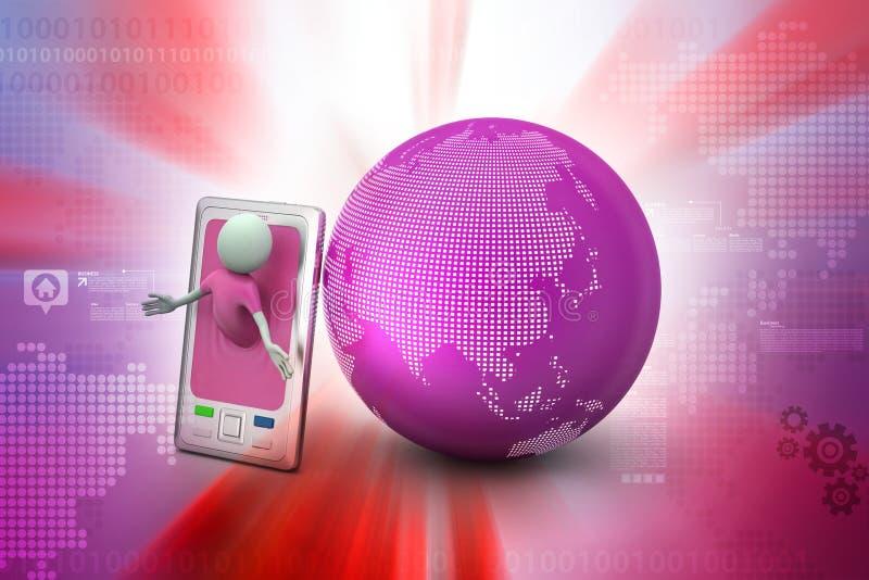 Επιχειρησιακό άτομο με το έξυπνους τηλέφωνο και τον κόσμο διανυσματική απεικόνιση
