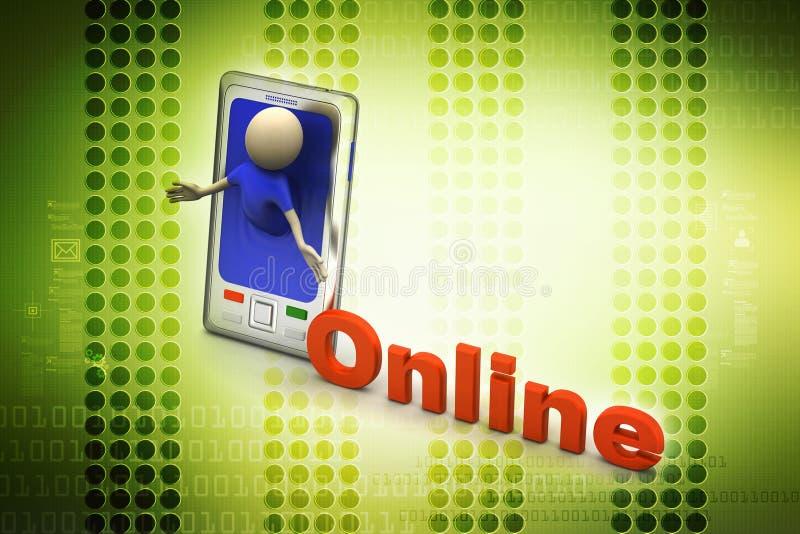Επιχειρησιακό άτομο με το έξυπνο τηλέφωνο, σε απευθείας σύνδεση έννοια απεικόνιση αποθεμάτων