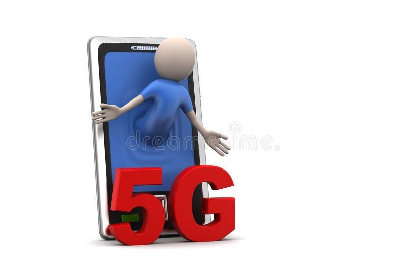 Επιχειρησιακό άτομο με το έξυπνο τηλέφωνο, 5G έννοια διανυσματική απεικόνιση