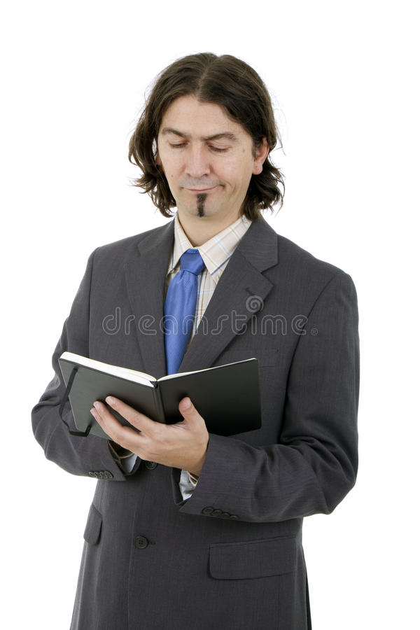 Επιχειρησιακό άτομο με το σημειωματάριο στοκ εικόνες με δικαίωμα ελεύθερης χρήσης
