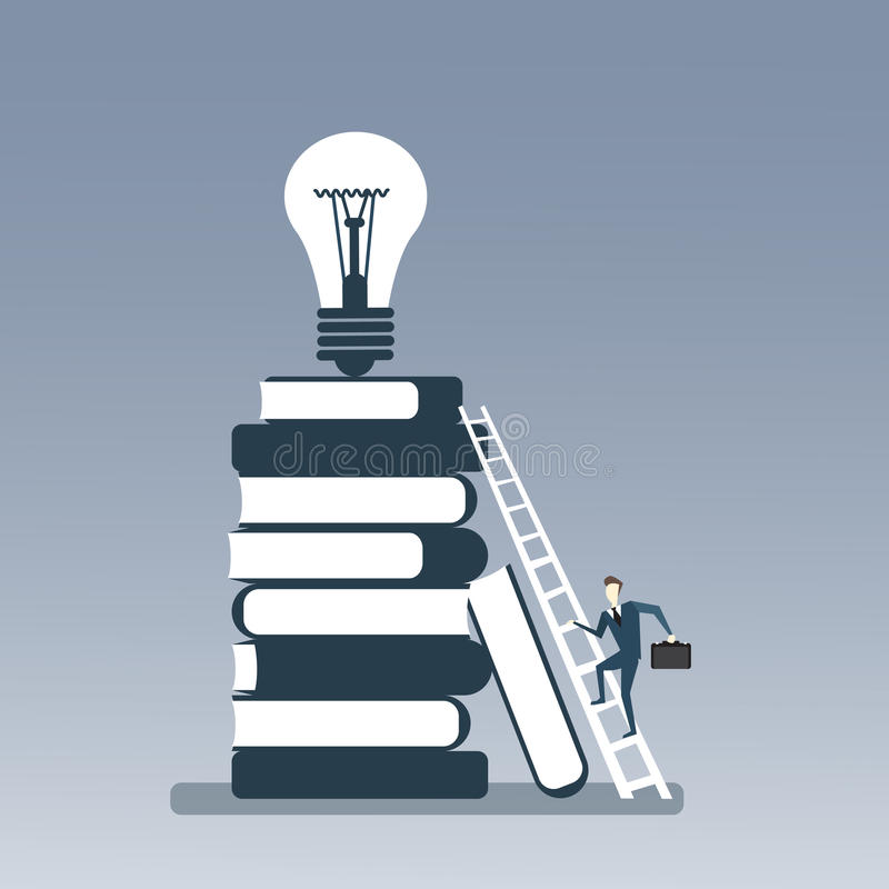 Επιχειρησιακό άτομο που αναρριχείται στο σωρό βιβλίων στη λάμπα φωτός στη τοπ νέα δημιουργική έννοια ιδέας διανυσματική απεικόνιση