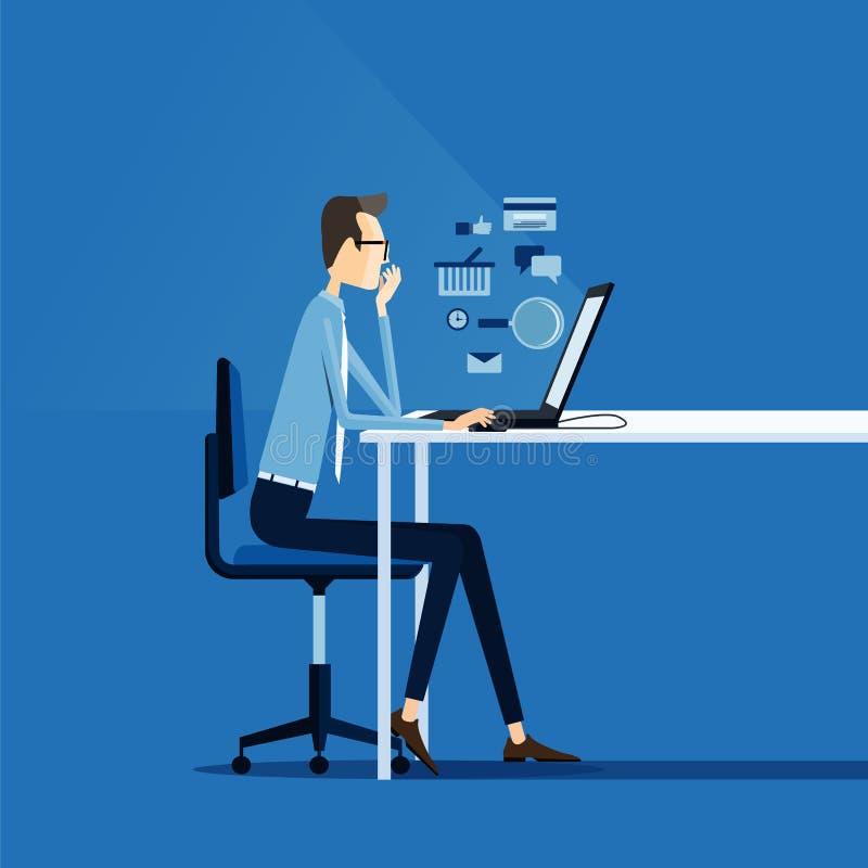 Επιχειρησιακό άτομο που απασχολείται στη σε απευθείας σύνδεση έννοια διανυσματική απεικόνιση