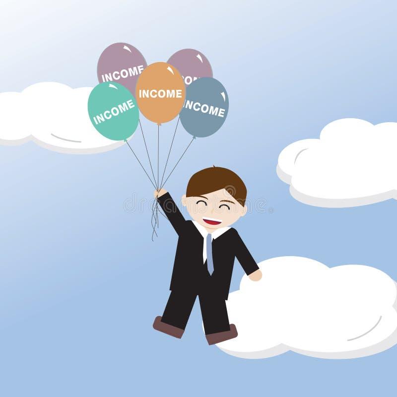 Επιχειρησιακό άτομο που επιπλέει επάνω τον ουρανό με τα εισοδηματικά μπαλόνια ελεύθερη απεικόνιση δικαιώματος