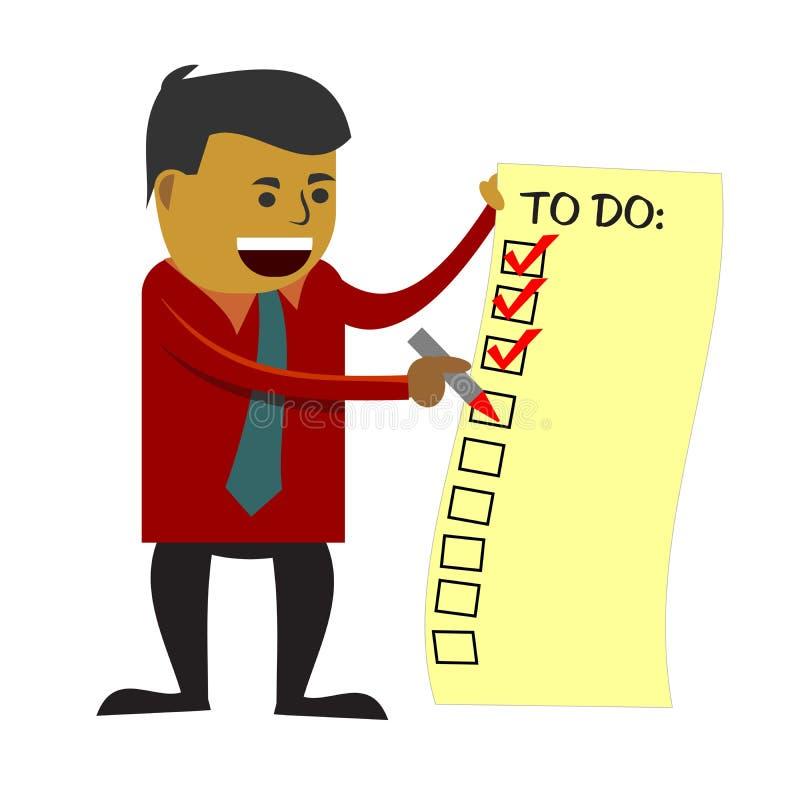 Επιχειρησιακό άτομο που ελέγχει για να κάνει τον κατάλογο διανυσματική απεικόνιση