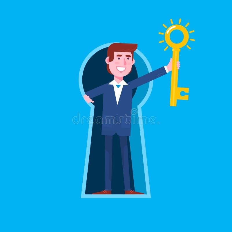 Επιχειρησιακό άτομο που κοιτάζει από τη γιγαντιαία κλειδαρότρυπα και που κρατά το μεγάλο κλειδί με την κλειδαρότρυπα Επίπεδη απομ ελεύθερη απεικόνιση δικαιώματος