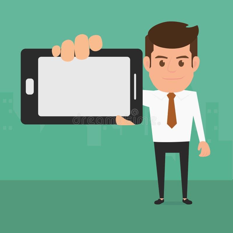 Επιχειρησιακό άτομο που παρουσιάζει έξυπνο τηλέφωνο διανυσματική απεικόνιση
