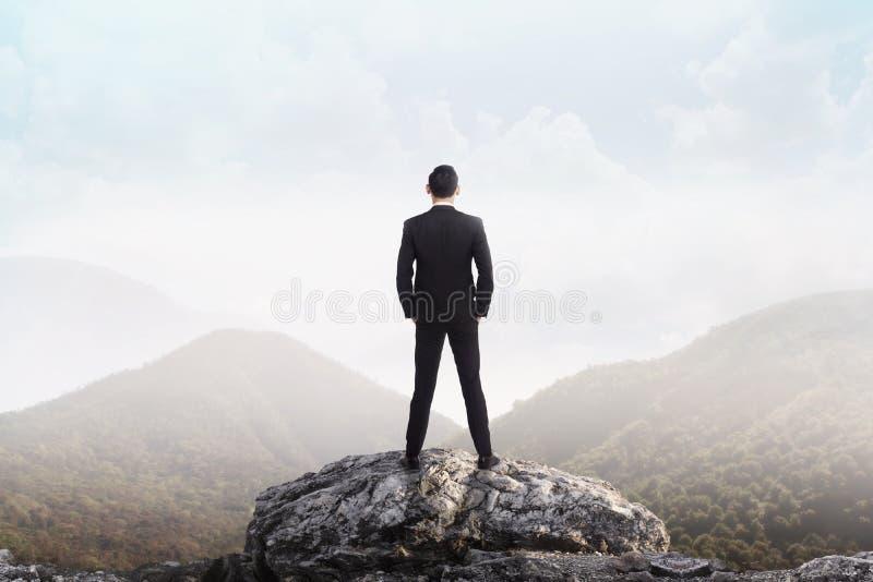Επιχειρησιακό άτομο που στέκεται στην κορυφή του βουνού που εξετάζει στοκ εικόνες