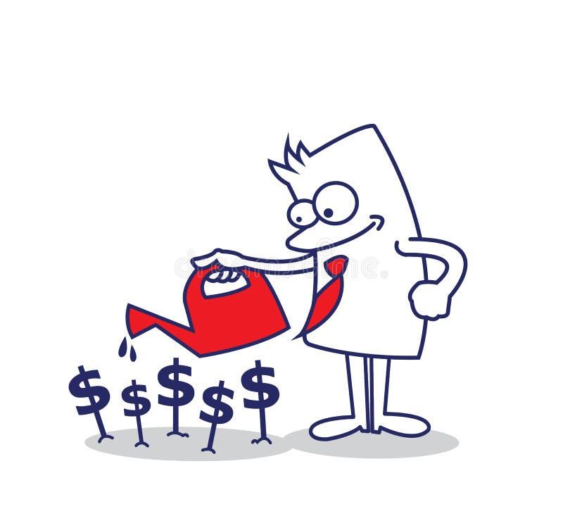Επιχειρησιακό άτομο που φυτεύει τα χρήματα απεικόνιση αποθεμάτων