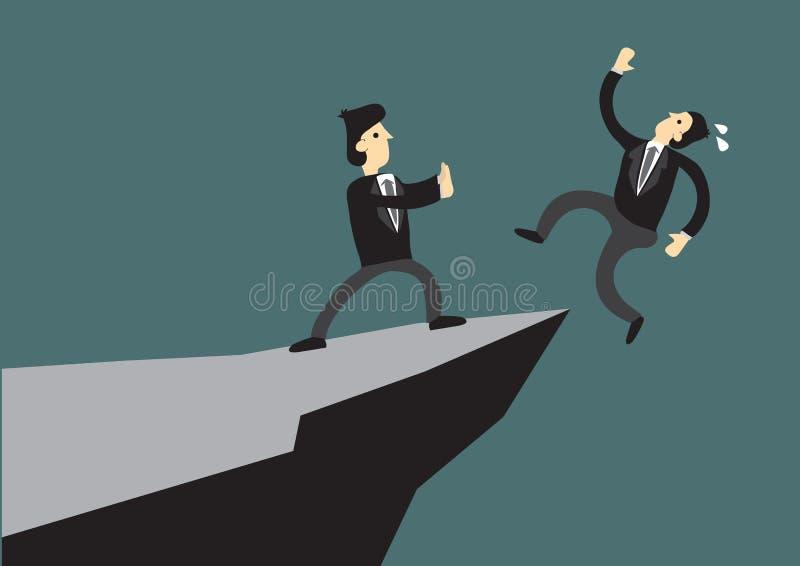 Επιχειρησιακό άτομο που ωθεί τον ανταγωνιστή του από τον απότομο βράχο Έννοια του ανταγωνισμού, της δολιοφθοράς και του κινδύνου  απεικόνιση αποθεμάτων