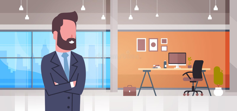 Επιχειρησιακό άτομο στο κύριο γραφείο γραφείων εργασιακών χώρων με την εσωτερική έννοια χώρου εργασίας επιχειρηματιών υπολογιστών απεικόνιση αποθεμάτων