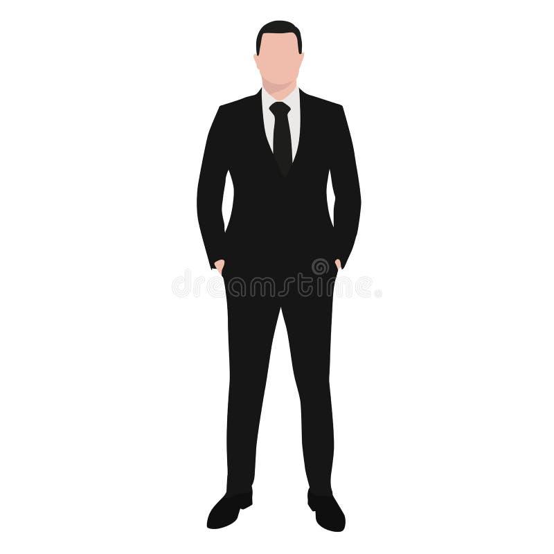 Επιχειρησιακό άτομο στο σκοτεινό κοστούμι και το μαύρο δεσμό απεικόνιση αποθεμάτων