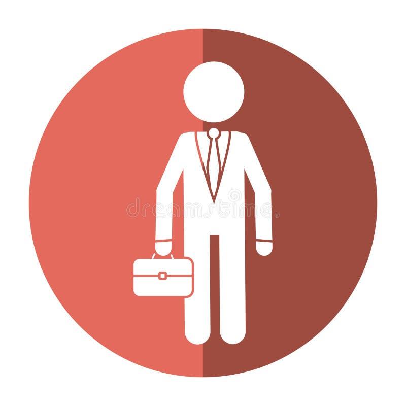 Επιχειρησιακό άτομο χαρακτήρα με τη σκιά χαρτοφυλακίων κοστουμιών απεικόνιση αποθεμάτων