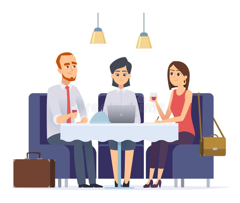 Επιχειρησιακό γεύμα Συνεδρίαση με το συνεργάτη ή τον πελάτη εργασίας στους εκτελεστικούς διανυσματικούς χαρακτήρες επιχειρησιακού ελεύθερη απεικόνιση δικαιώματος