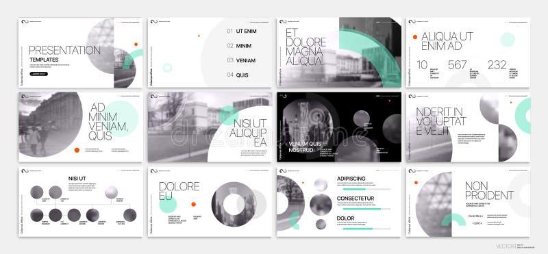 Επιχειρησιακό διάνυσμα παρουσίασης Template Πράσινα γεωμετρικά στοιχεία για τις παρουσιάσεις φωτογραφικών διαφανειών για ένα άσπρ διανυσματική απεικόνιση