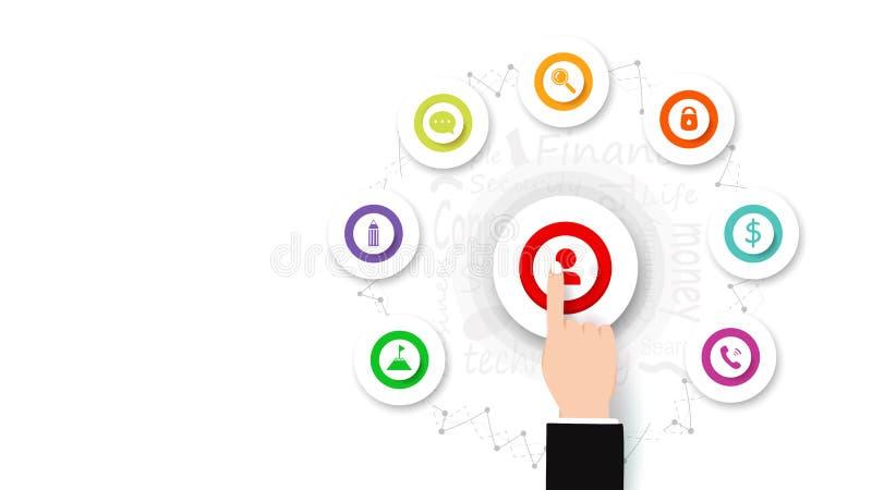 Επιχειρησιακό διάνυσμα, ώθηση χεριών δάχτυλων πλήκτρο το ΟΝ, infographic εικονίδιο και σημάδι, επίπεδο σχέδιο, υπόβαθρο, ιδέα δημ ελεύθερη απεικόνιση δικαιώματος