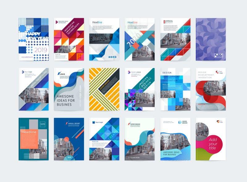Επιχειρησιακό διανυσματικό σύνολο Σχεδιάγραμμα προτύπων φυλλάδιων, ετήσια έκθεση σχεδίου κάλυψης, περιοδικό, ιπτάμενο σε A4 Περίλ απεικόνιση αποθεμάτων