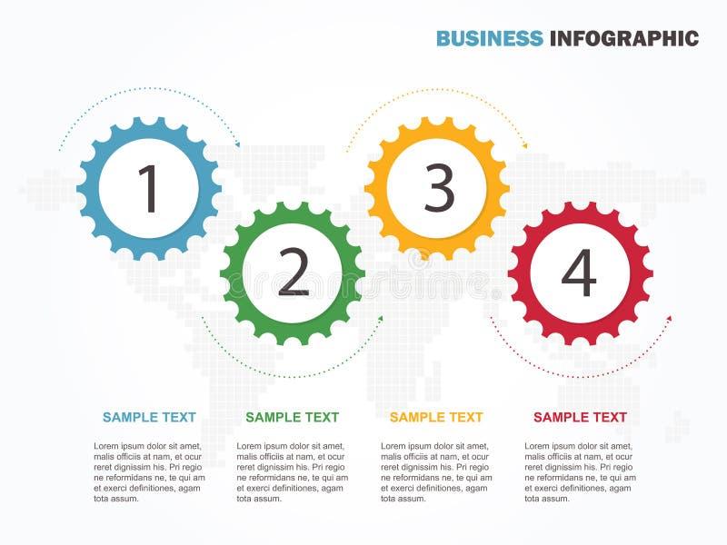 Επιχειρησιακό ελάχιστο infographic πρότυπο infographic σχεδιάγραμμα υπόδειξης ως προς το χρόνο επιχειρησιακών κύριων σημείων 4 βη απεικόνιση αποθεμάτων