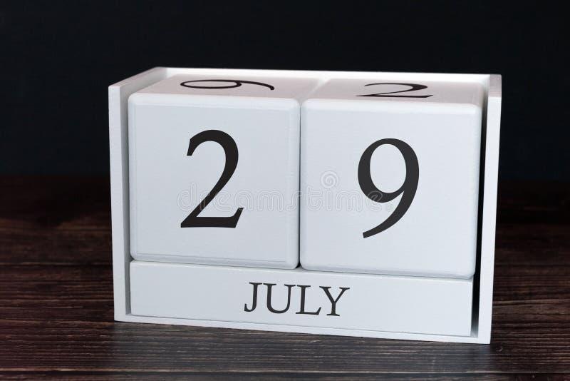 Επιχειρησιακό ημερολόγιο για τις ημέρα Ιουλίου, 29η του μήνα Έννοια ημερομηνίας διοργανωτών αρμόδιων για το σχεδιασμό ή προγράμμα στοκ εικόνες