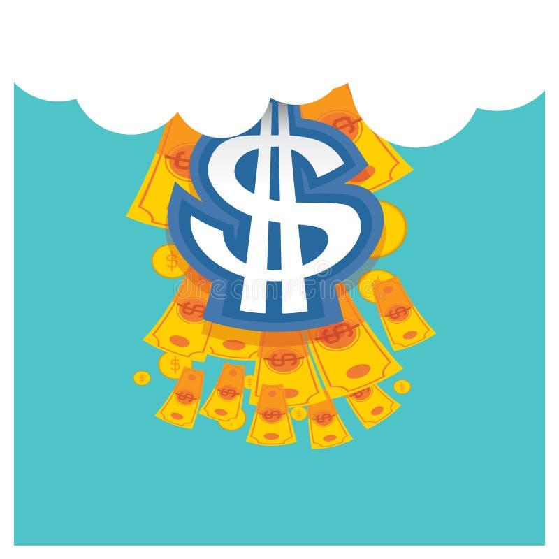 Επιχειρησιακό διανυσματικό ασημένιο δολάριο μια όμορφη μπλε πλάτη ουρανού ελεύθερη απεικόνιση δικαιώματος