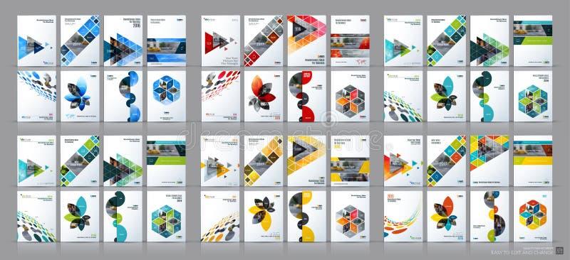 Επιχειρησιακό διανυσματικό μέγα σύνολο Σχεδιάγραμμα προτύπων φυλλάδιων, σχέδιο κάλυψης διανυσματική απεικόνιση