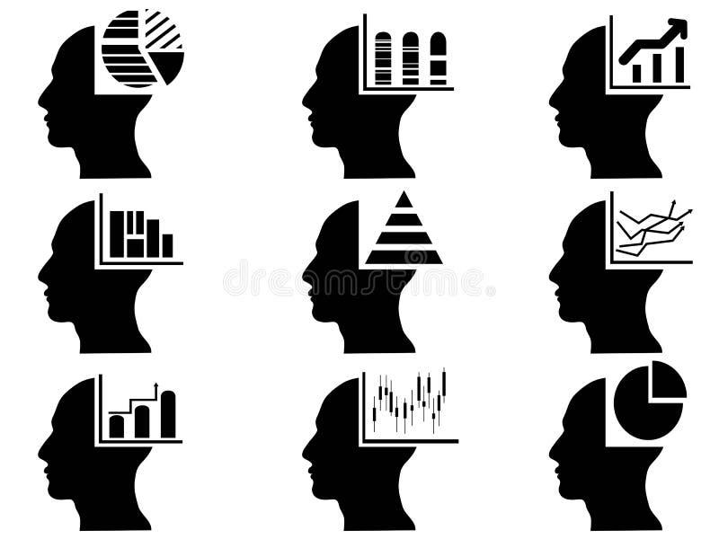 Επιχειρησιακό κεφάλι με τα εικονίδια στατιστικών καθορισμένα διανυσματική απεικόνιση