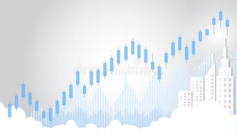 Επιχειρησιακό κηροπήγιο και οικονομικό διάγραμμα γραφικών παραστάσεων κατάλληλα για την έννοια εμπορικών συναλλαγών επένδυσης χρη ελεύθερη απεικόνιση δικαιώματος