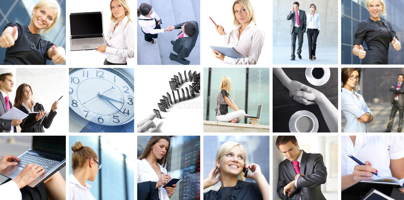 Επιχειρησιακό κολάζ των εικόνων με τους ανθρώπους στοκ φωτογραφία