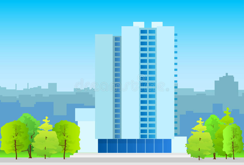 Επιχειρησιακό κτίριο γραφείων οριζόντων πόλεων, πραγματικό απεικόνιση αποθεμάτων