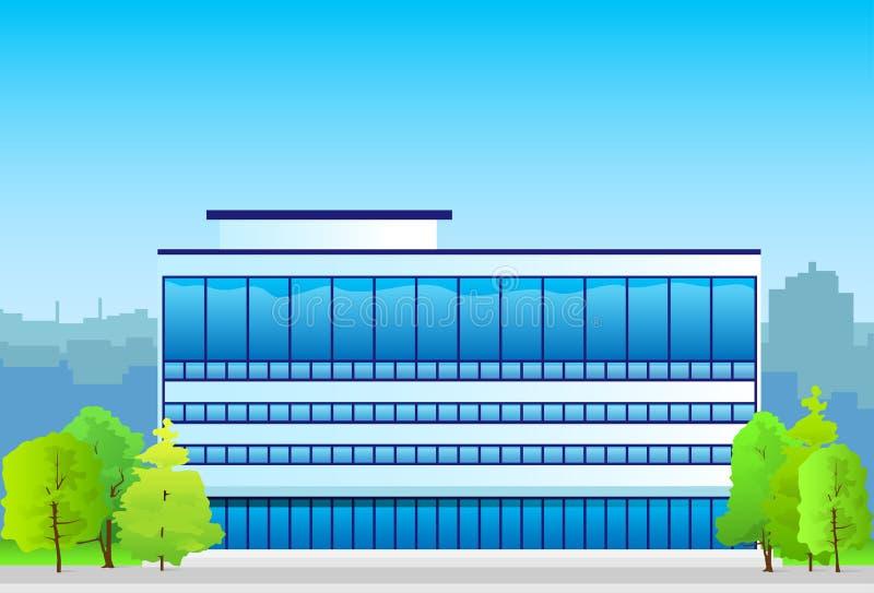 Επιχειρησιακό κτίριο γραφείων, σκιαγραφία ακίνητων περιουσιών διανυσματική απεικόνιση