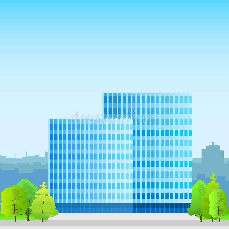 Επιχειρησιακό κτίριο γραφείων, σκιαγραφία ακίνητων περιουσιών απεικόνιση αποθεμάτων